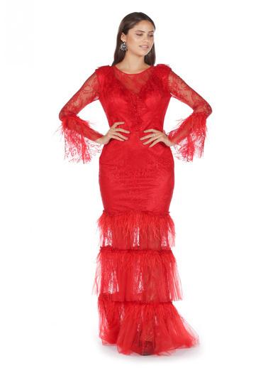 Pierre Cardin Kolları Volanlı Uzun Abiye Elbise Kırmızı